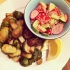 Roasted Brussels sprouts with red potatoes
